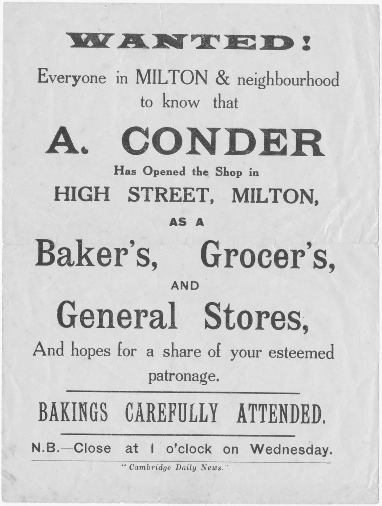 Flyer announcing the opening of Conder's Store