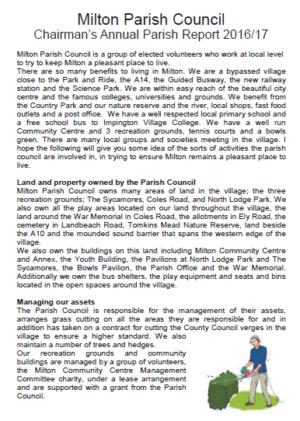 Parish Council Chairmans Report 2017