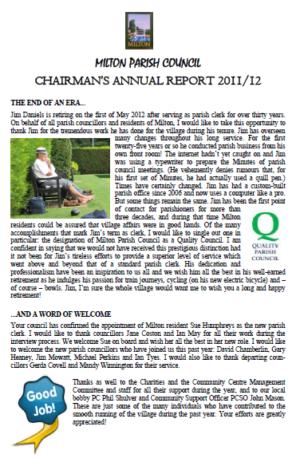 ANNUAL CHAIRMAN'S REPORT April12
