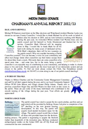 ANNUAL CHAIRMAN\'S REPORT April13